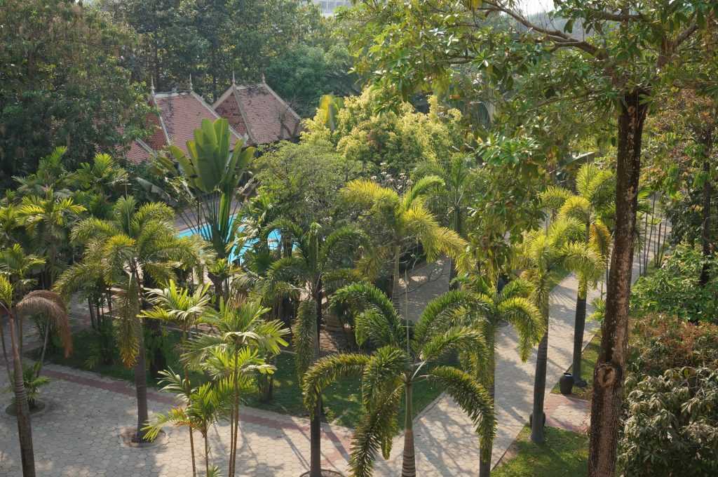 Viewing the beautiful garden with massage area and pool